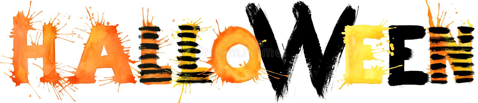 Halloween watercolor hand drawn text for design background. royalty free illustration