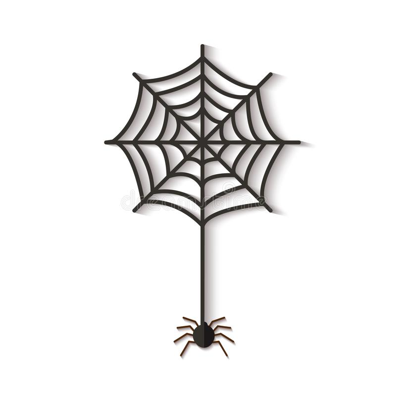 Halloween web with spider cutted out of black paper vector illustration isolated. Halloween web with spider cutted out of black paper vector illustration in royalty free illustration