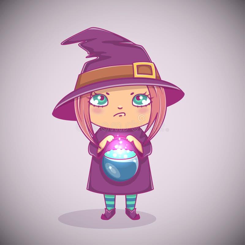 Halloween weinig heks Meisjesjong geitje met boos gezicht in Halloween-kostuum met ketel Vector illustratie royalty-vrije illustratie