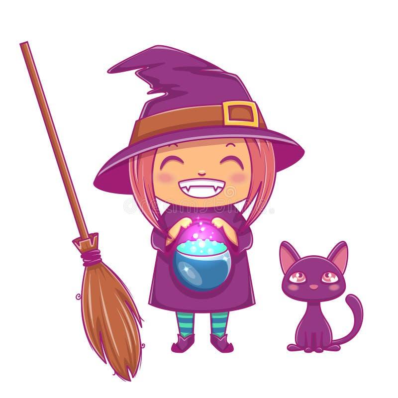 Halloween weinig heks Meisjesjong geitje met het glimlachen gezicht in Halloween-kostuum van heks met ketel, zwarte katje en beze royalty-vrije illustratie