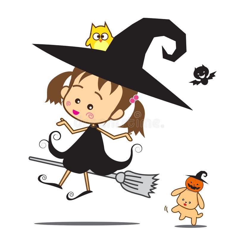 Halloween Weinig Tovenaar vector illustratie