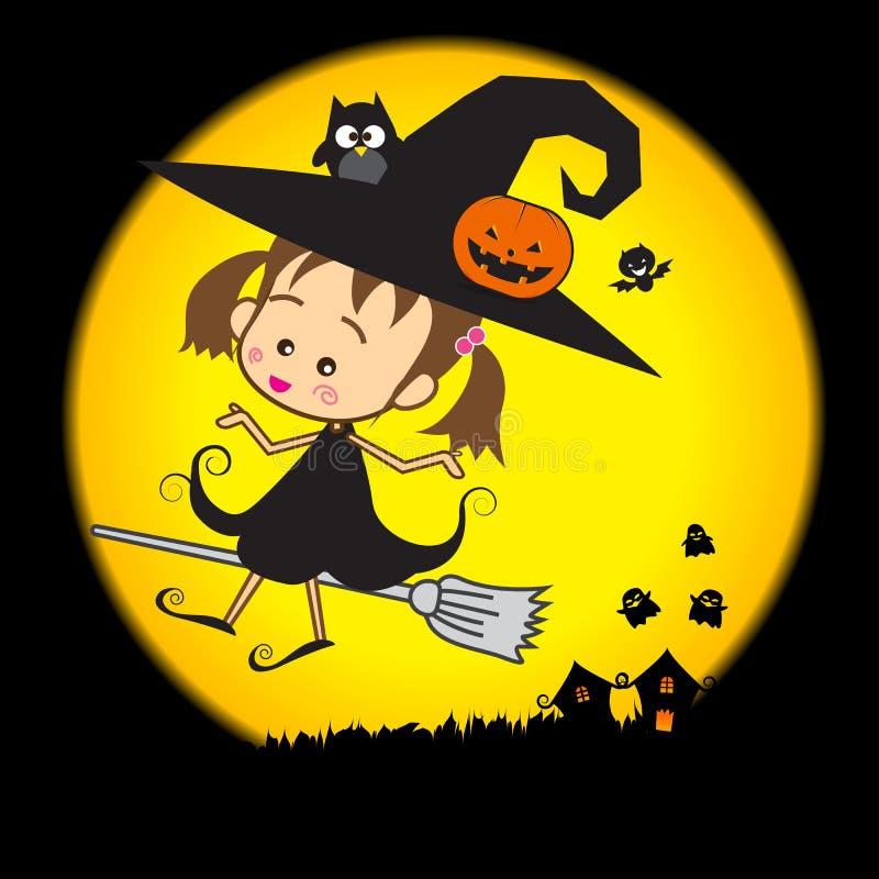 Halloween Weinig Tovenaar 002 royalty-vrije illustratie