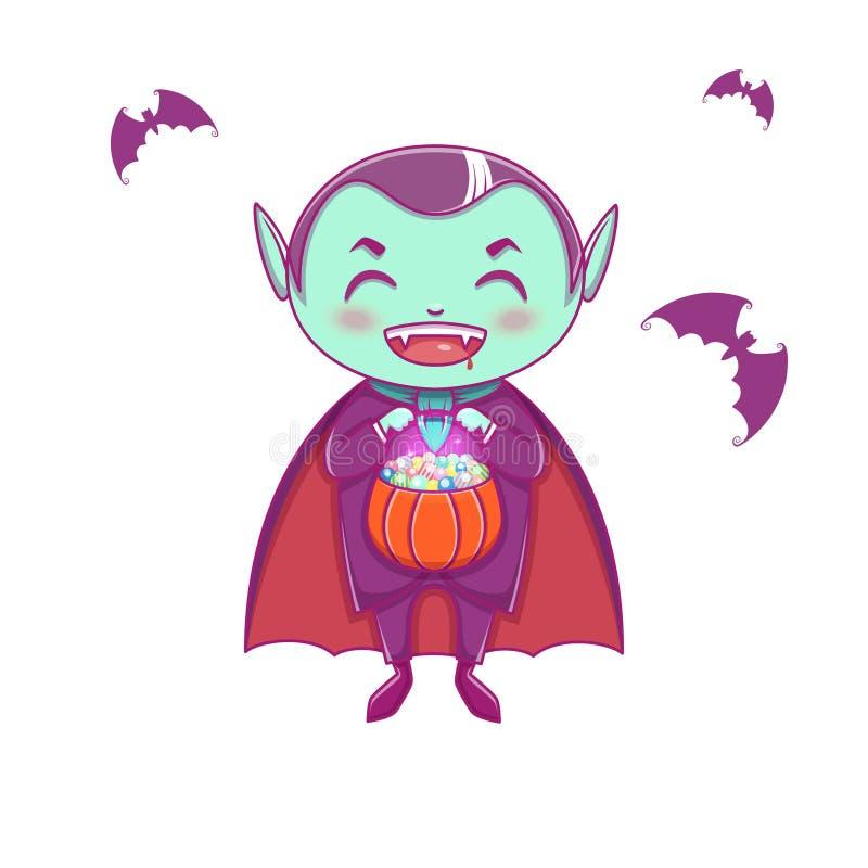 Halloween weinig vampier Dracula Jongensjong geitje met het glimlachen gezicht in Halloween-kostuum met pompoen in zijn handen stock illustratie