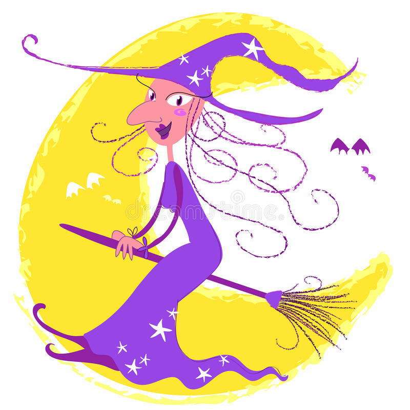 Download Halloween witch stock vector. Image of befana, ugly, moonlight - 10974084