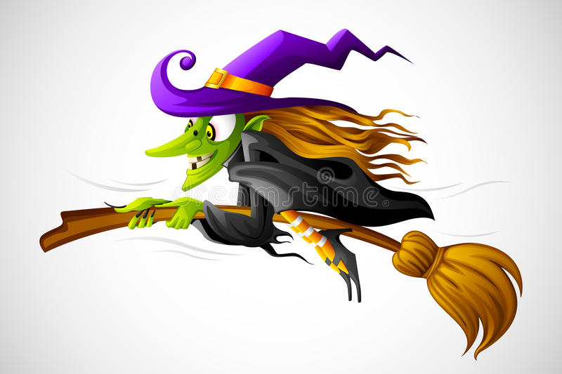 Halloween Witch. Vector illustration of halloween witch flying on broom