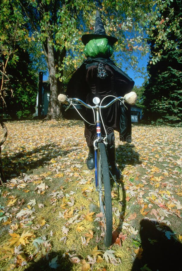 Halloween Witch on Bicycle, New York State stock photo