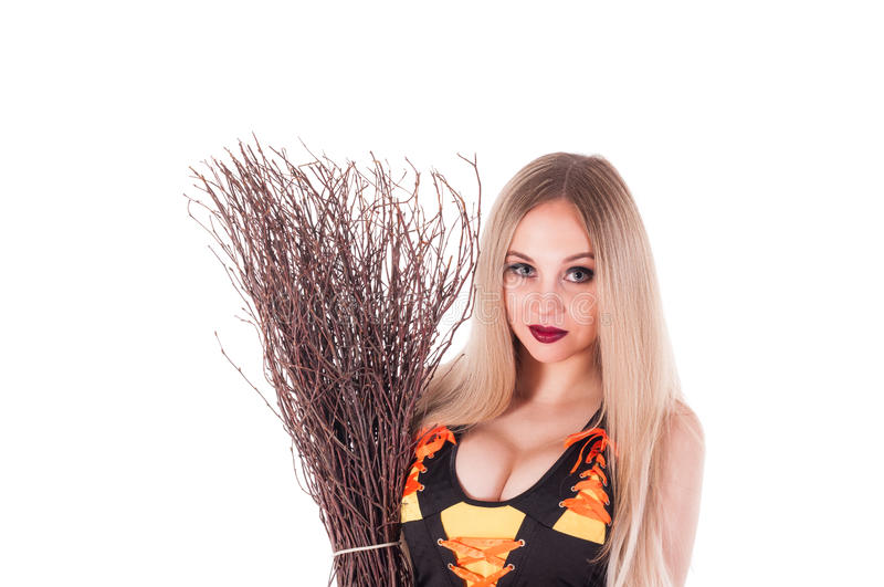 Halloween Witch  With  Broom. Stock Photo