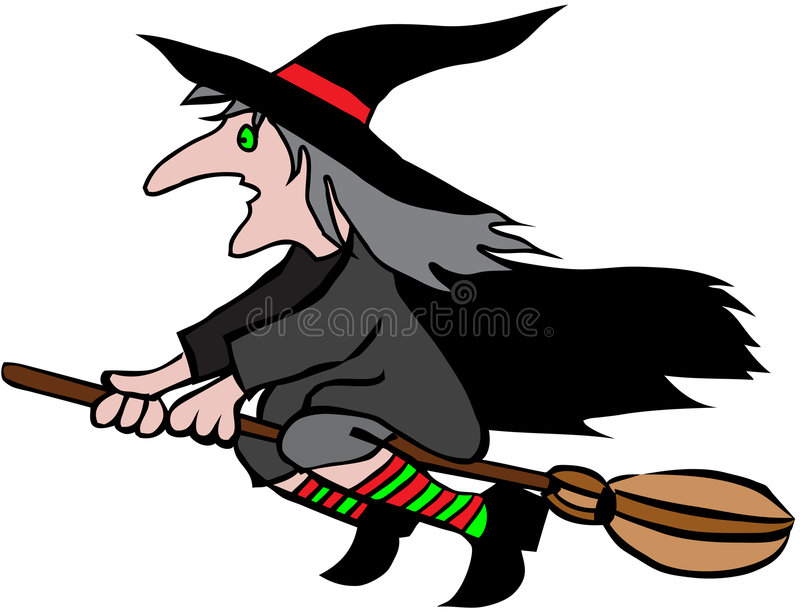 Download Halloween Witch On Broomstick Stock Vector - Illustration: 9287446