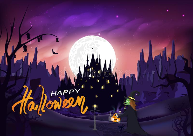 Halloween, witch and cat walk on the road to castle, magic and pumpkin, Jack-O-Lantern, fantasy miracle silhouette night scene, royalty free illustration