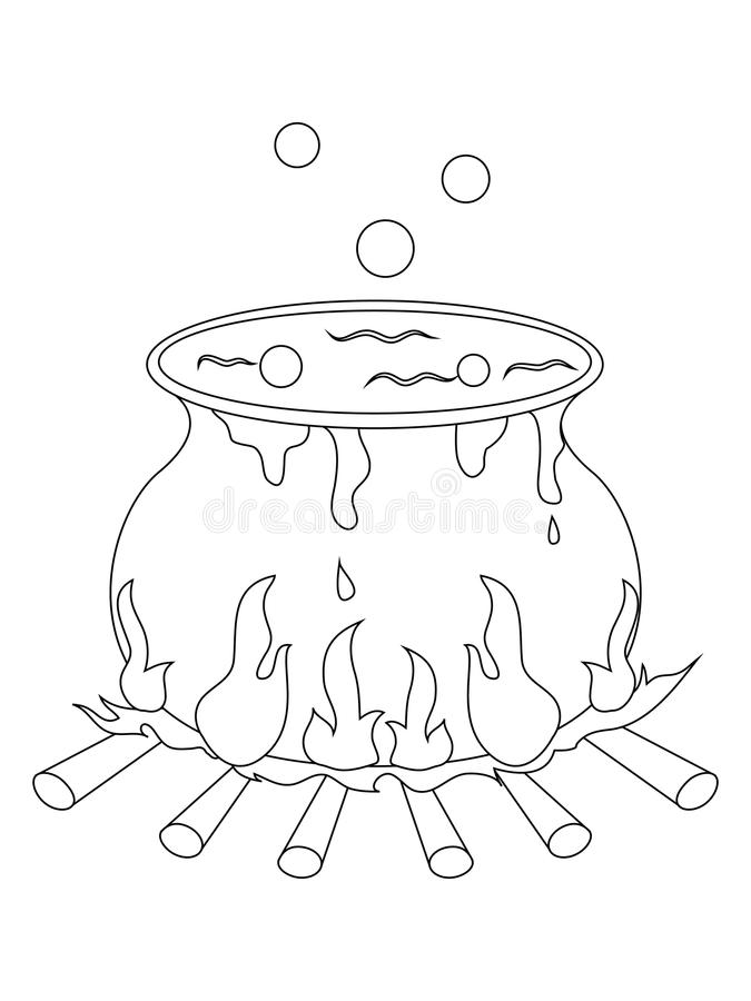 witches cauldron coloring page