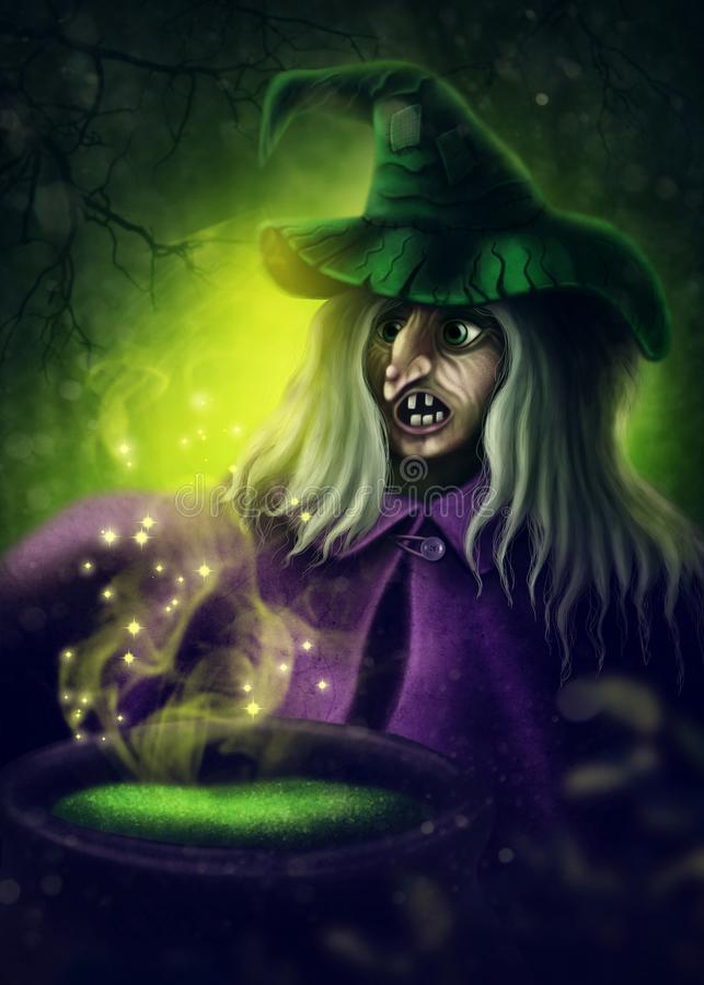 Halloween witch. In a dark forest royalty free illustration