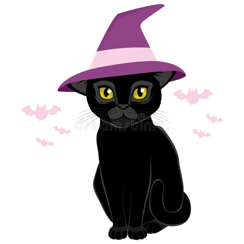 Halloween Witch Hat Black Cat. Illustration of cute Halloween black cat with witch hat stock illustration