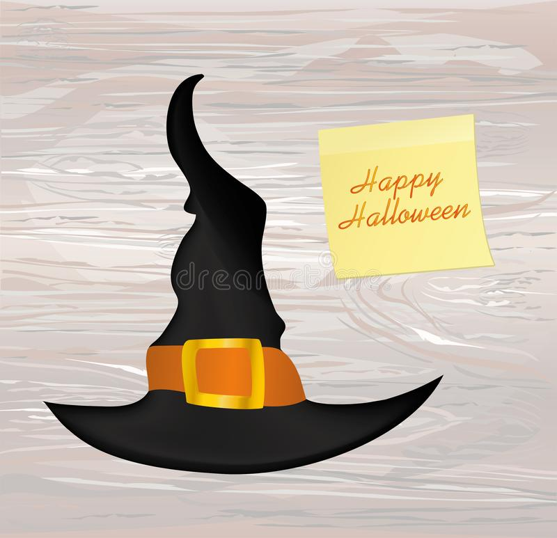 Halloween. Witch hat. Vector on wooden background. Greeting card royalty free illustration