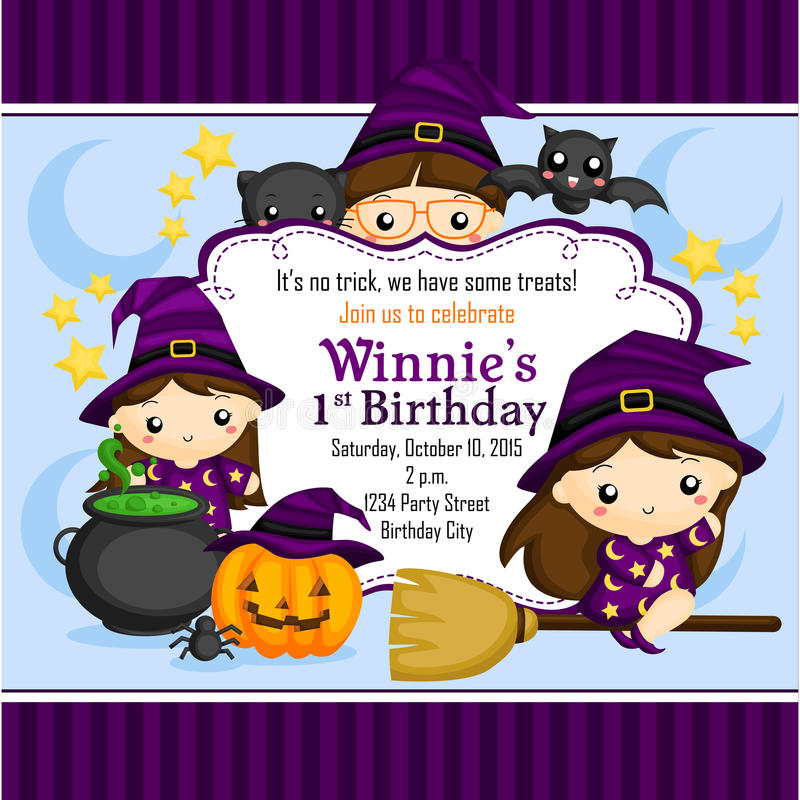 Halloween Witch Invitation stock illustration