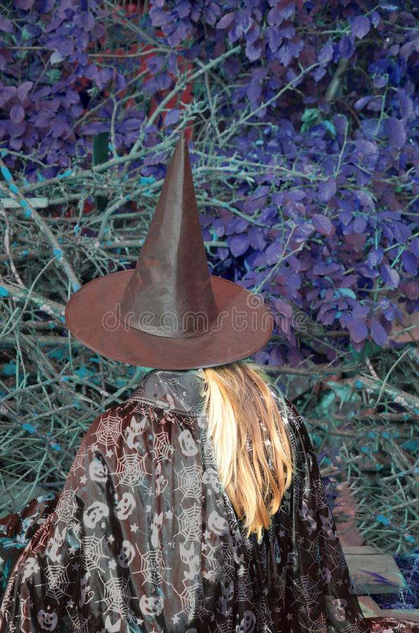 Halloween Witch with a magic in a dark forest. Beautiful young woman in witches hat and costume holding magic light in. Halloween Witch with a magic in a dark royalty free stock image