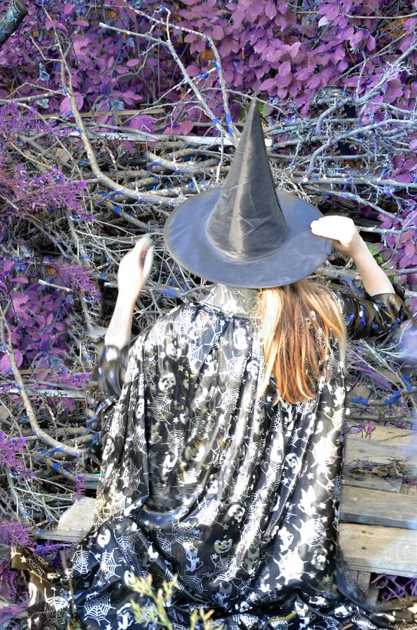 Halloween Witch with a magic in a dark forest. Beautiful young woman in witches hat and costume holding magic light in. Halloween Witch with a magic in a dark stock images