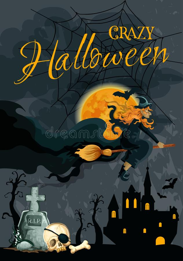 Halloween witch night cemetery vector poster royalty free illustration