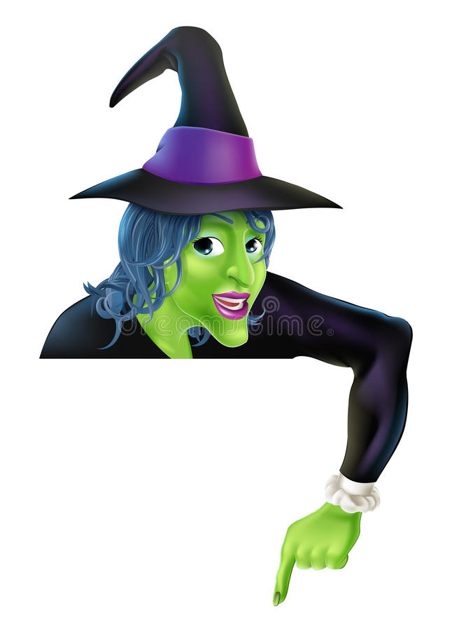 Halloween Witch Pointing Down. Drawing of a friendly cartoon Halloween witch peeping over a sign and pointing vector illustration
