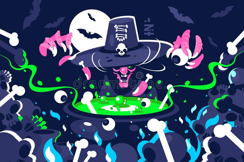 Halloween witch preparing magic potion in cauldron stock illustration