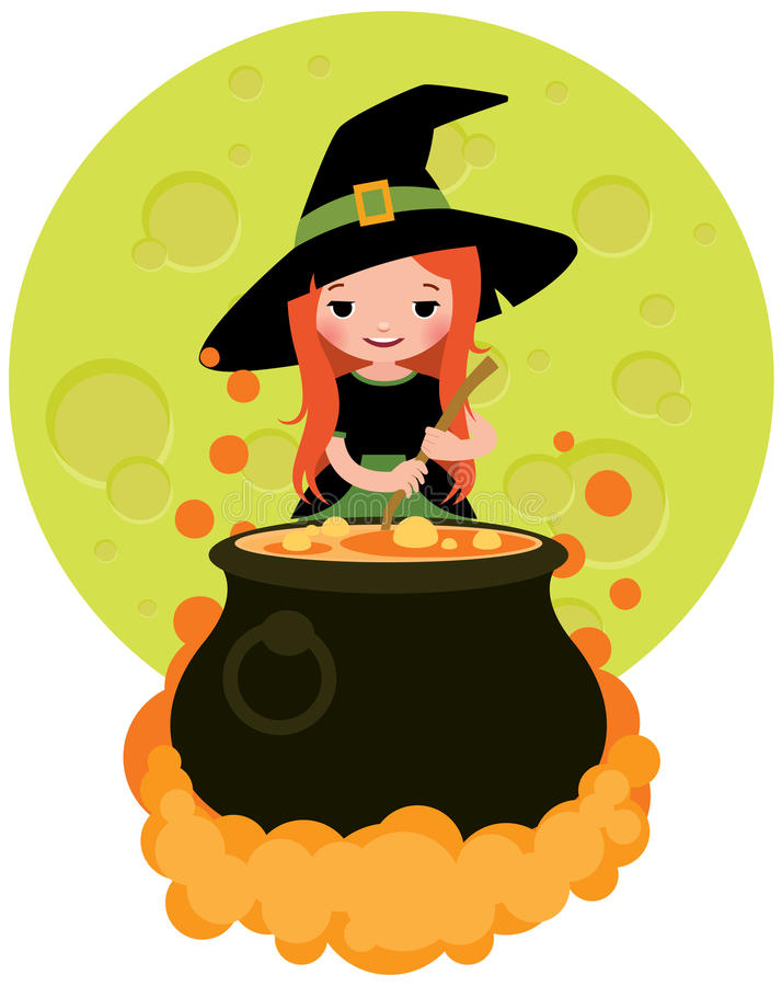 Halloween witch preparing potion vector illustration