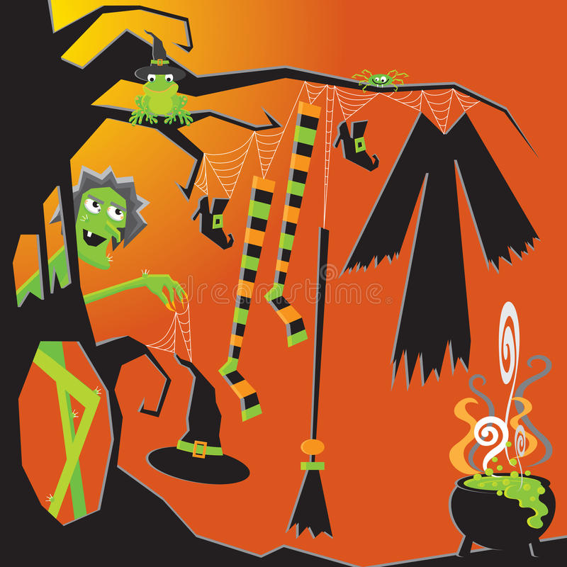 Download Halloween Witch's Clothesline Stock Vector - Image: 21364624
