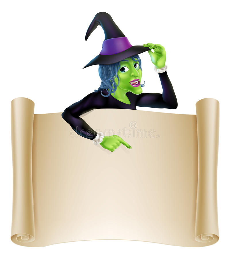 Halloween Witch Scroll royalty free illustration