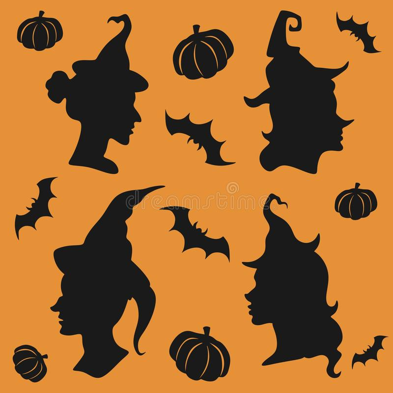 Halloween witch silhouettes set royalty free illustration