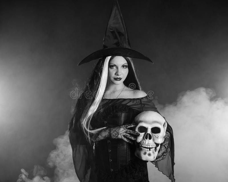 Download Halloween Witch With A Skull Stock Image - Image: 16501473