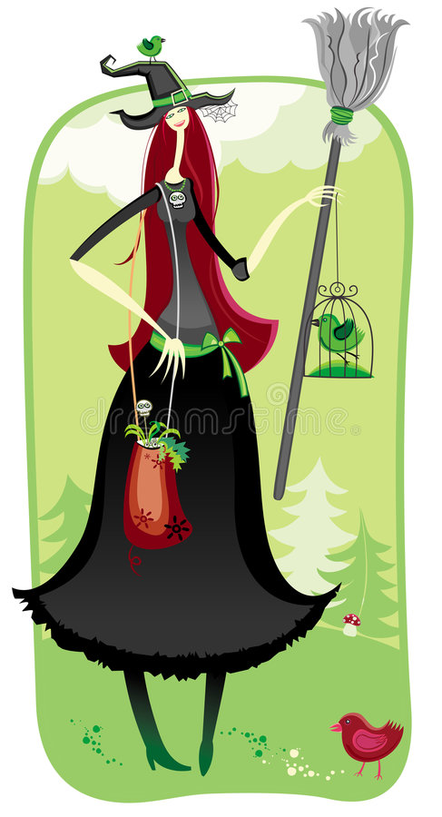 Download Halloween Witch In The Woods Stock Vector - Image: 6624980