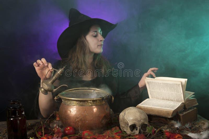 Halloween withch auf Rauchhintergrund lizenzfreie stockfotos