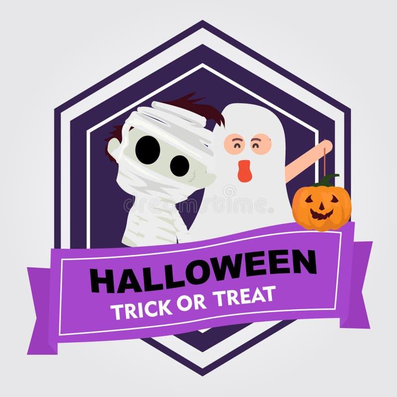 Halloween-withmummy kenteken en gosht jonge geitjeskostuum vector illustratie