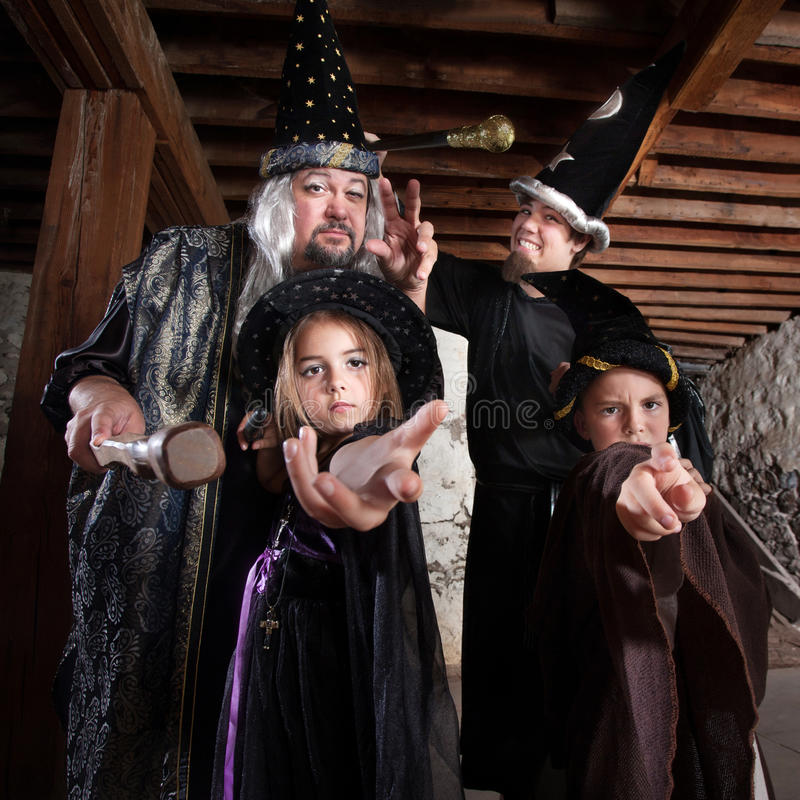 Halloween Wizard Family royalty free stock images