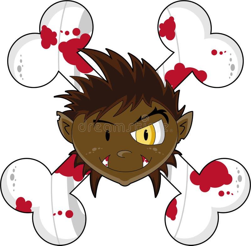 Halloween Wolfman mit den Knochen stock abbildung