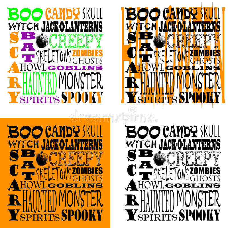Halloween Word Art - Set of 4 stock images