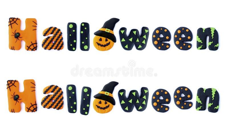Halloween. Word letters Halloween handmade polymer clay plasticine Isolated postcard royalty free illustration