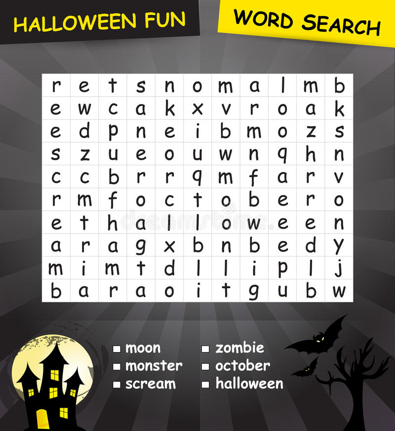 Download Halloween word search game stock illustration. Image of mind - 34359441