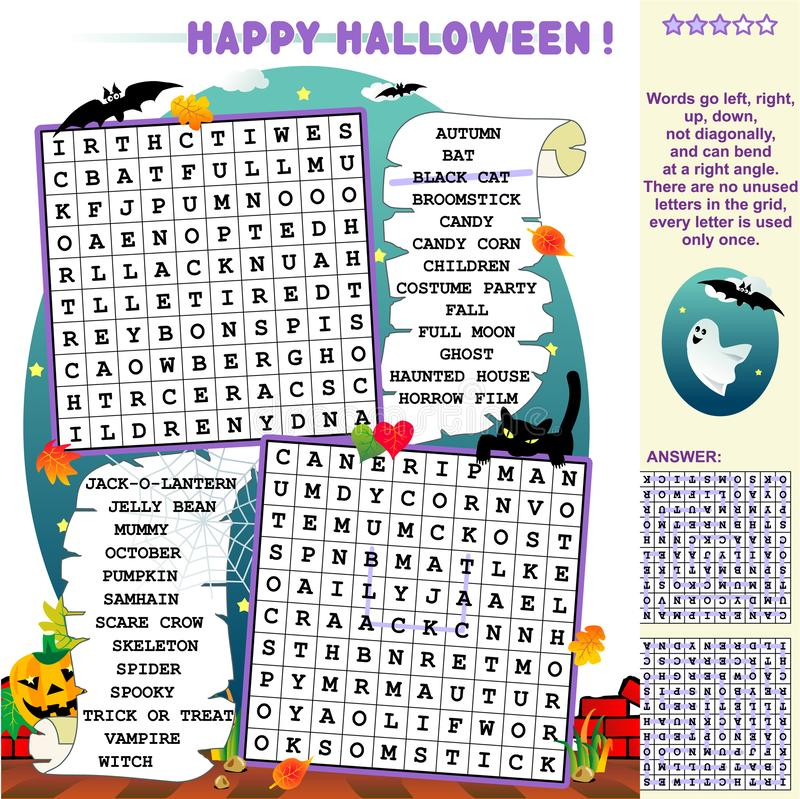 Free Halloween Word Search Puzzle Royalty Free Stock Photography - 128481077