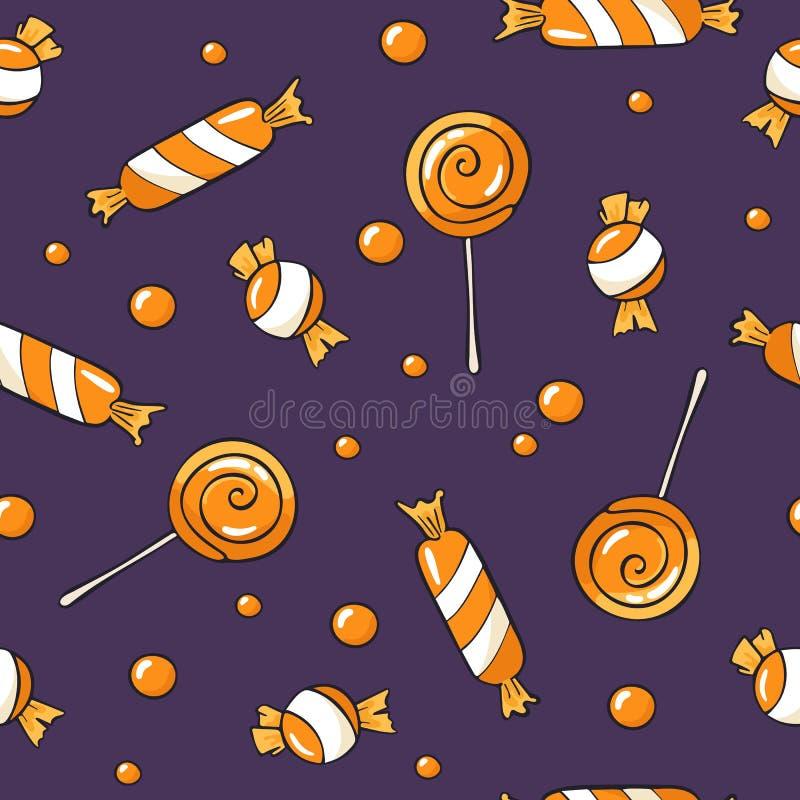 Halloween wzór z cukierkami i lollypops na błękitnym tle Bezszwowa wektorowa ręka rysująca Halloween ustawiający z lizakiem ilustracji
