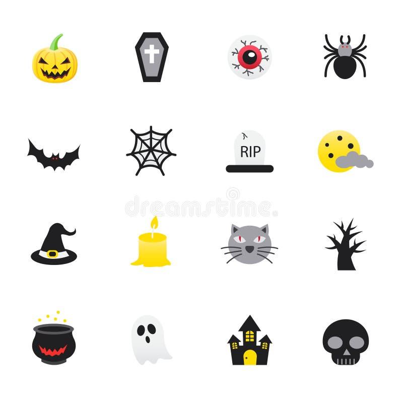 Halloween y calabaza Sistema de estilo plano de los iconos del color del ejemplo del vector de Halloween stock de ilustración