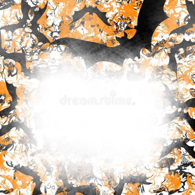 Halloween y escena de la caída de los palos del vuelo, de los árboles espeluznantes, y del fondo fantasmagórico del grunge en un  stock de ilustración