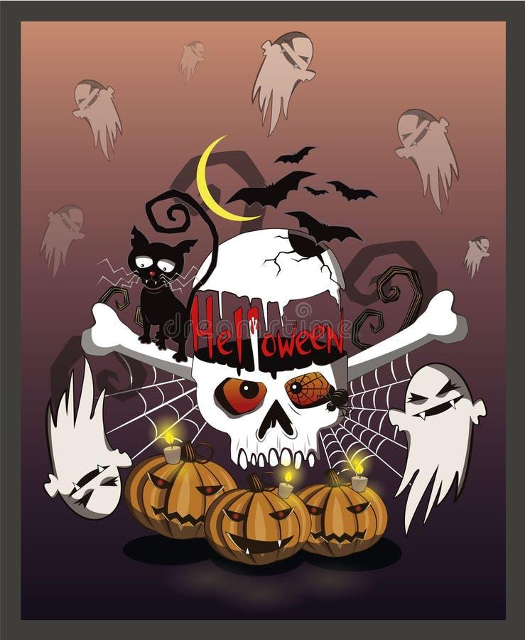 Halloween y un cráneo grande alrededor de los cuales es lleno de mal Las calabazas adornan el fondo ilustración del vector