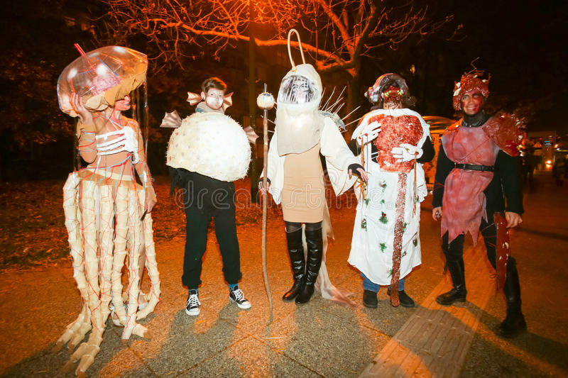 Halloween, Zagreb, Croatia. ZAGREB, CROATIA- OCTOBER 31, 2016 : People dressed up for Halloween party in the streets of Zagreb, Croatia royalty free stock photography