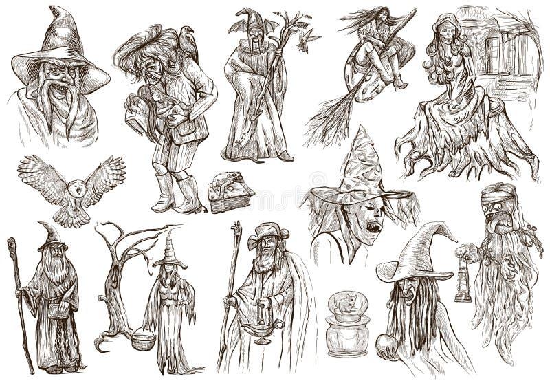 Halloween, Zauberer und Hexen - ein Hand gezeichneter weißer Satz stock abbildung