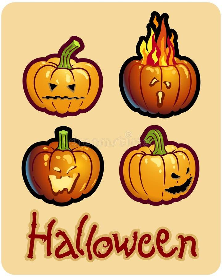 Halloween Zeichnung - vier Kürbisköpfe Jack lizenzfreie abbildung