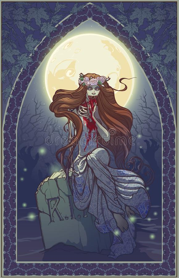 Free Halloween Zimbie Bride Sitting On A Grave Stone In The Moonlit Forest Over The Graveyard. Halloween Greeting Card. Stock Image - 159822871