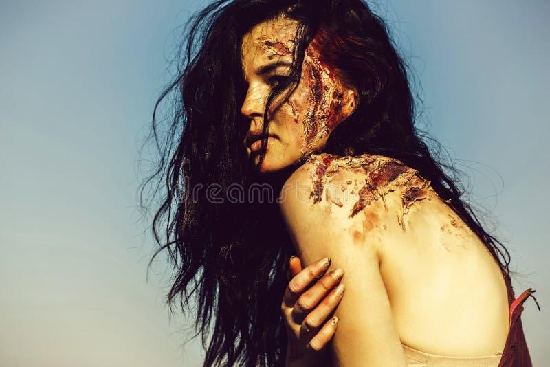 Halloween zombie girl stock photo