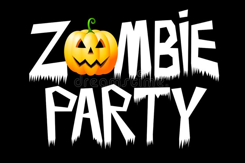 Halloween - Zombie party - typography, spooky font royalty free illustration