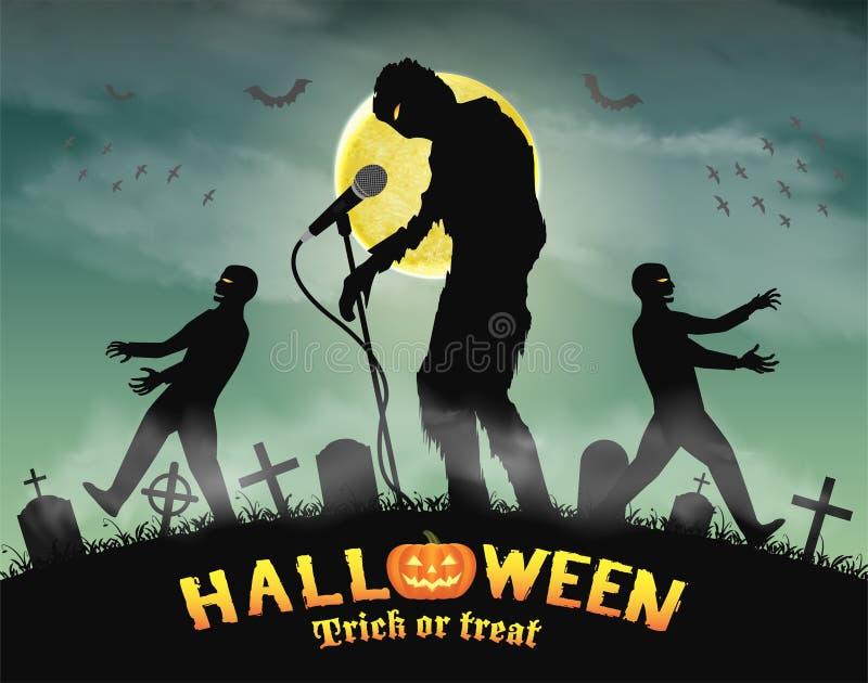 Halloween-zombie zingende partij in nachtkerkhof vector illustratie