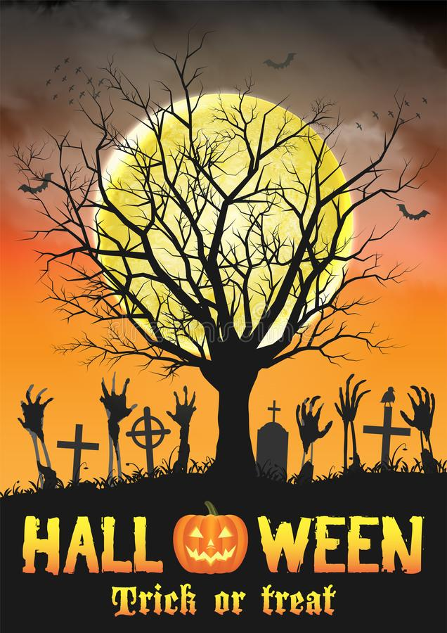 Halloween-zombiehand op graf met dode boom vector illustratie
