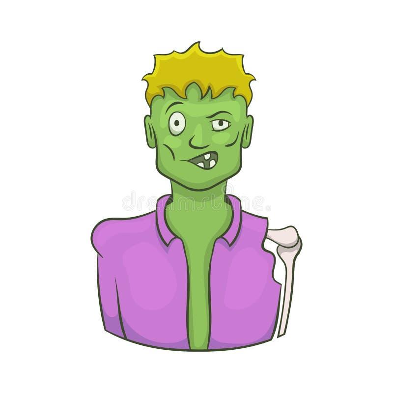 Halloween-zombiepictogram, beeldverhaalstijl royalty-vrije illustratie